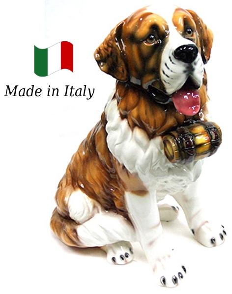 セントバーナード 置物 オブジェ h6-83f 【送料無料】 イタリア 陶器 動物 雑貨 犬 イヌ