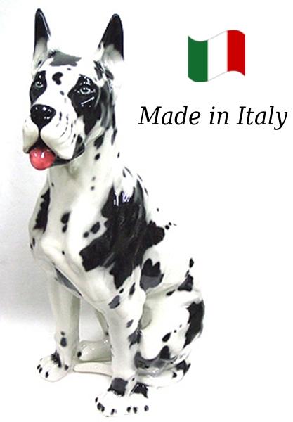 グレートデン 置物 オブジェ h6-101a 【送料無料】 イタリア 陶器 動物 雑貨 犬 イヌ