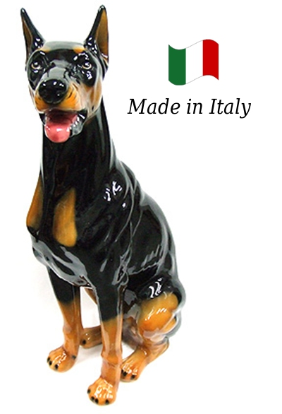 ドーベルマン 置物 オブジェ h6-106 【送料無料】 イタリア 陶器 動物 雑貨 犬 イヌ