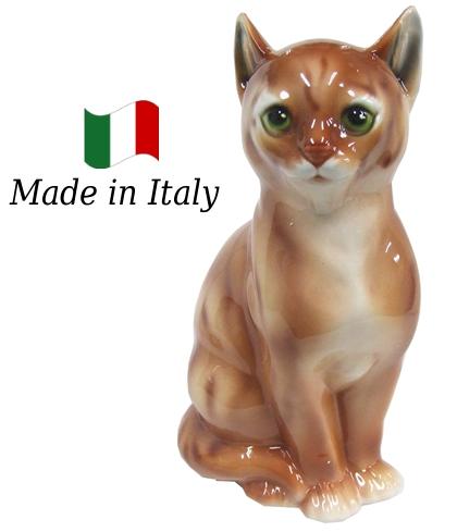 ネコ 置物 オブジェ h6-166r 【送料無料】 イタリア 陶器 動物 雑貨 猫 ねこ