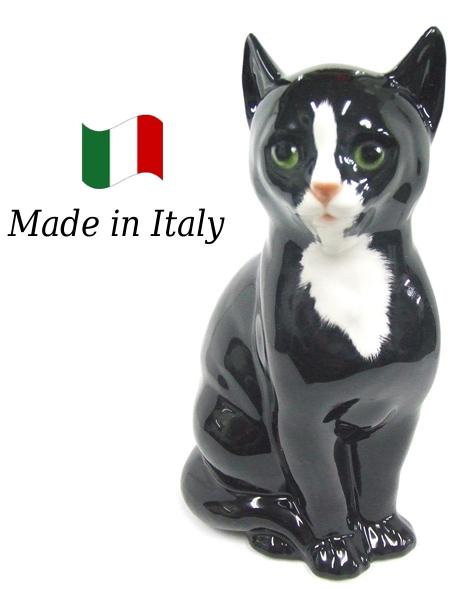 ネコ 置物 オブジェ h6-166sw 【送料無料】 イタリア 陶器 動物 雑貨 猫 ねこ
