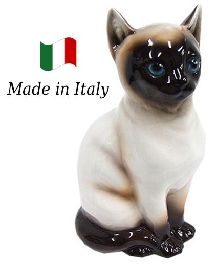 ネコ 置物 オブジェ h6-166s 【送料無料】 イタリア 陶器 動物 雑貨 猫 ねこ