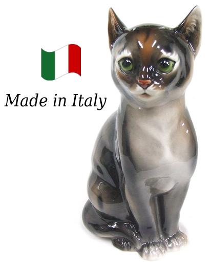 ネコ 置物 オブジェ h6-166t 【送料無料】 イタリア 陶器 動物 雑貨 猫 ねこ