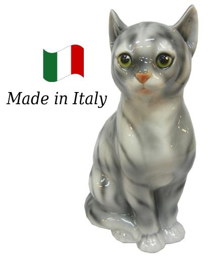 ネコ 置物 オブジェ h6-166gr 【送料無料】 イタリア 陶器 動物 雑貨 猫 ねこ