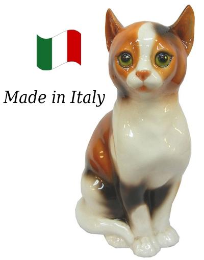 ネコ 置物 オブジェ h6-166tre 【送料無料】 イタリア 陶器 動物 雑貨 猫 ねこ