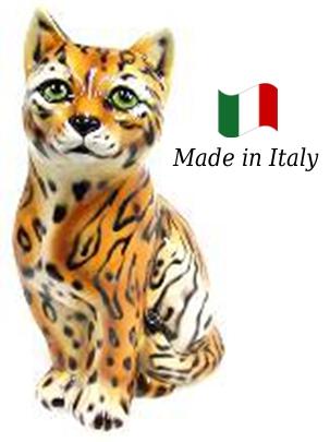 ネコ 置物 オブジェ h6-764 【送料無料】 イタリア 陶器 動物 雑貨 猫 ねこ