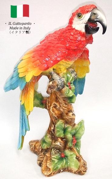 オウム 置物 オブジェ h6-8226r 【送料無料】 イタリア 陶器 動物 雑貨 鳥 parrot