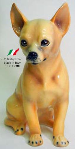 チワワ 置物 オブジェ h6-41rb 【送料無料】 イタリア 陶器 動物 雑貨 犬 イヌ 室内犬