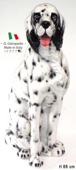セッター 置物 オブジェ h6-107sww 【送料無料】 イタリア 陶器 動物 雑貨 犬 イヌ