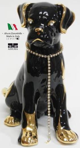 アウラー 犬 ボクサー ブラック ゴールド イタリア製 【送料無料】 完成品 イタリア 高級 高額品 置物 オブジェ 陶器 いぬ ahura au-802cn