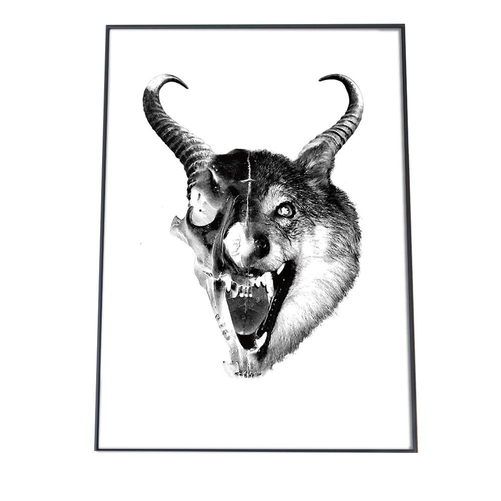 こちらのポスターはB3サイズです 期間限定 ポスター B3サイズ 約36x51cm 選べる用紙 大きさ インテリア オシャレ ファッション アート シンプル モダン 黒 白 オオカミ アニマル 角 動物 スタンプ 狼 遠吠え 往復送料無料 モノクロ