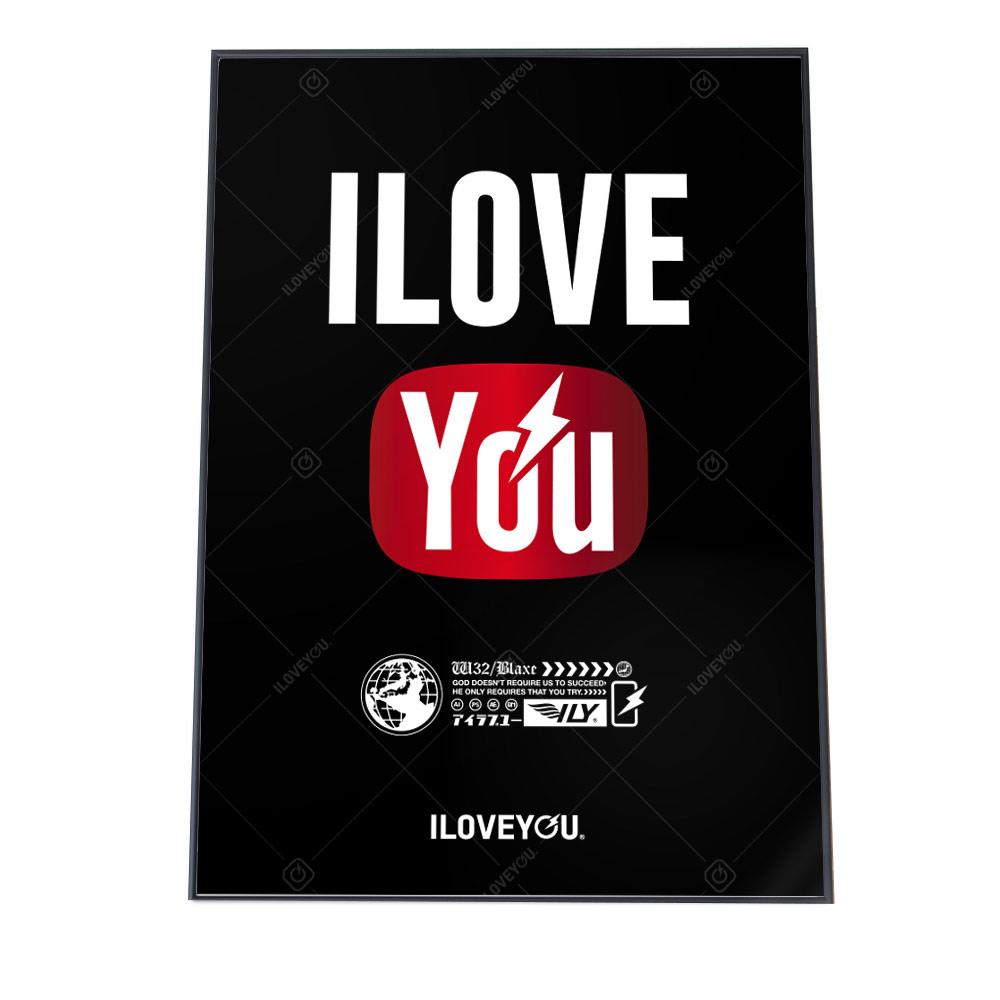 こちらのポスターはA3サイズです ポスター A3サイズ 約30x42cm 選べる用紙 大きさ ILOVEYOU アイラブユー インテリア 国内送料無料 オシャレ ファッション アート ブラック 黒 シンプル モノグラム インパクト おしゃれ 英語 愛 海外並行輸入正規品 お洒落 レッド メッセージ