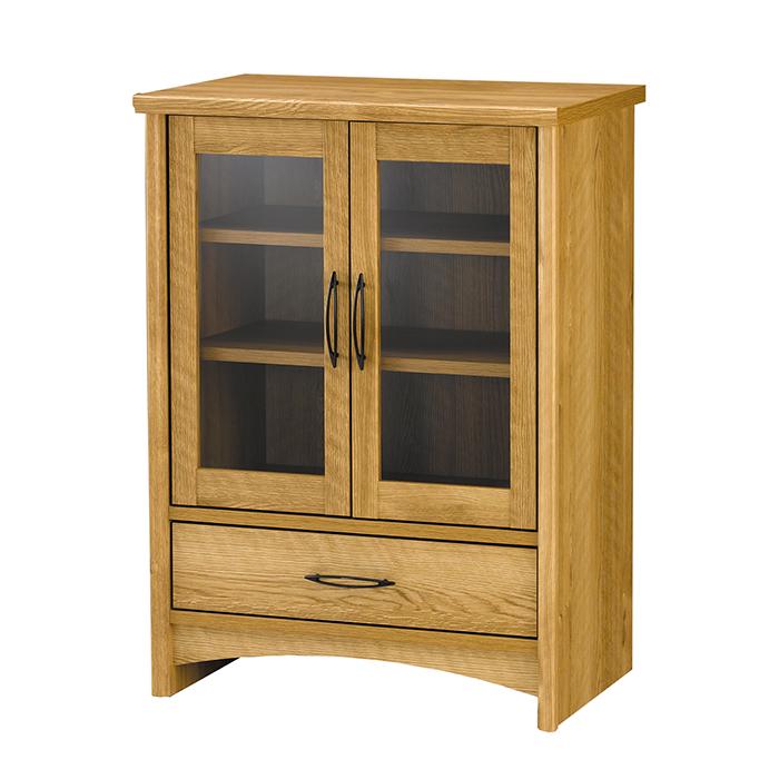 キャビネット 木製 サイドボード ガラス扉 引出し 本棚 食器棚