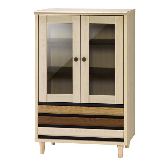 キャビネット ガラス扉 引き出し 木製 おしゃれ 可動棚