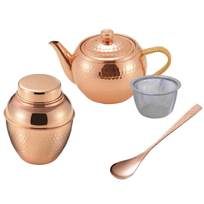 茶器3点セット ギフ_包装 燕三条 和室 高級感 来客用 食楽工房 急須 銅製 3点セット 茶匙 茶壷 木箱入 割引 日本製