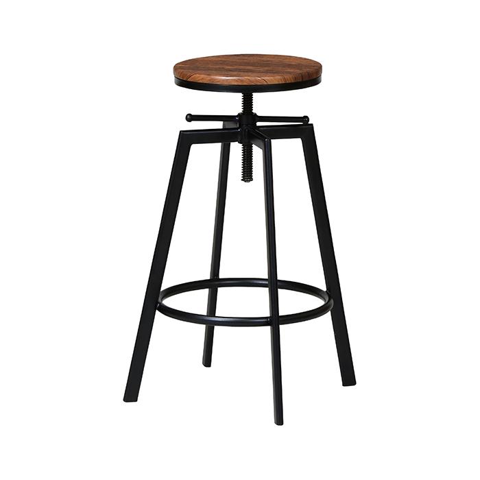 ハイスツール 椅子 いす カウンターチェア バーチェア 丸型 実物 おしゃれ 木目座面 ヴィンテージ風 昇降式 送料込 バーチェアー シンプル