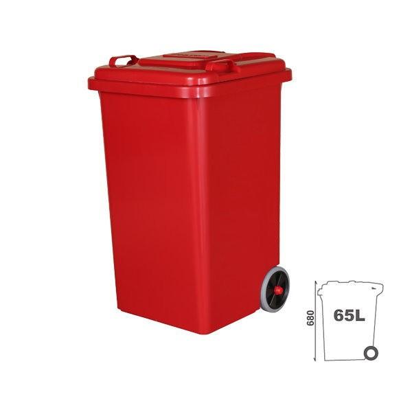 ダルトン プラスチック トラッシュカン ゴミ箱 65リットル 100-198RD レッド
