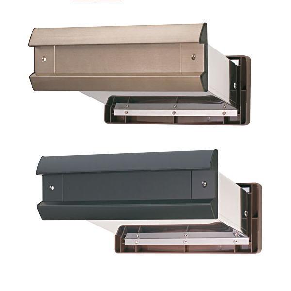 水上金属 NO.2000 ポストヨコ型 内フタ付 気密型 真壁用 壁厚調整範囲95~135 アンバー・黒