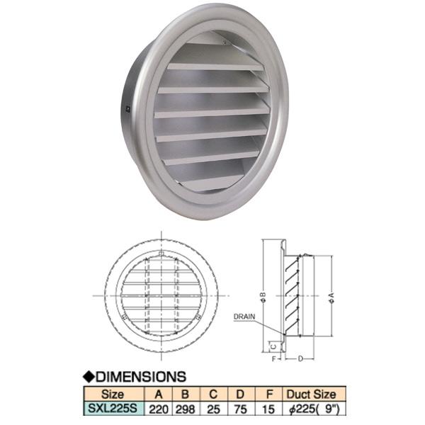 西邦工業 アルミニウム製リターンエアグリル 空調用吹出口 SXL-S SXL225S