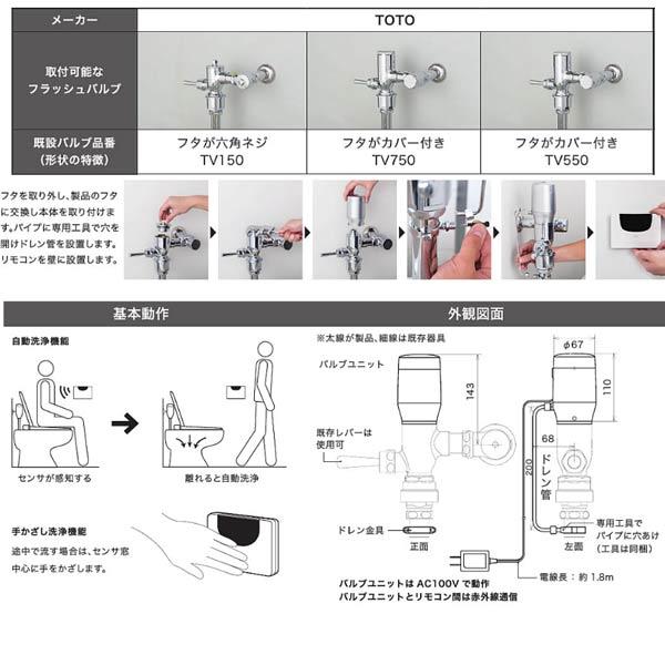ミナミサワ FlushMan ラムダ TOTOTV150(フタが六角ネジ)/TV750、TV550(フタがカバー付き)用 フタ付きトイレ用後付けセンサー FDRT