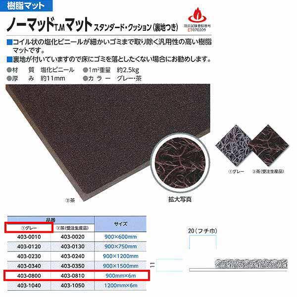 ミヅシマ ノーマッドマット スタンダード・クッション(裏地付き) グレー 403-0800 全辺フチなし 900mm×6m