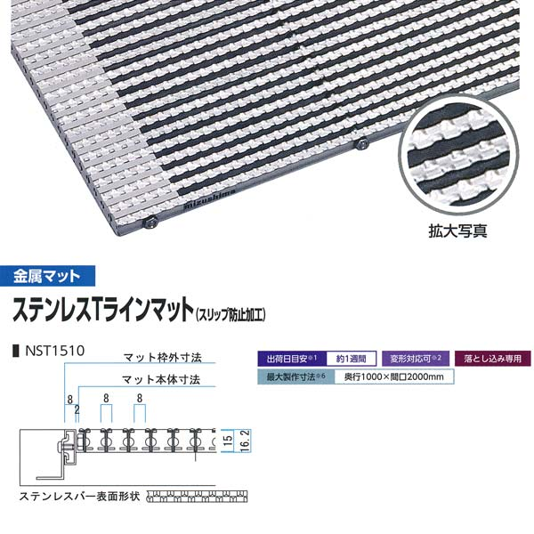 ミヅシマ工業 落とし込みマット 金属 ステンレTスラインマット(スリップ防止加工) NST1510 高さ16.2mm ピッチ8mm 平米単価