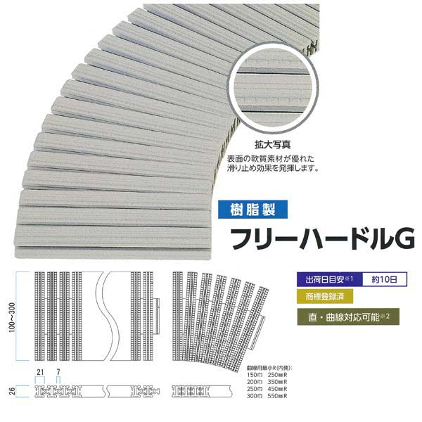 ミヅシマ工業 グレーチング 樹脂製 フリーハードルG 431-0950 100~150mm×1m
