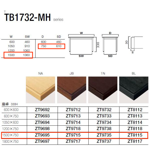 クレス TB1732-MHシリーズ 座卓 W1360・1500×D610・750×H330mm