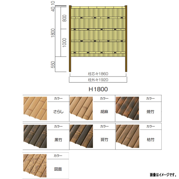 [並行輸入品] リアルフィット 竹垣ユニット グローベン パネルユニット 正規取扱店 両面 A11RFA018 H1800×W1800mm 柱別途