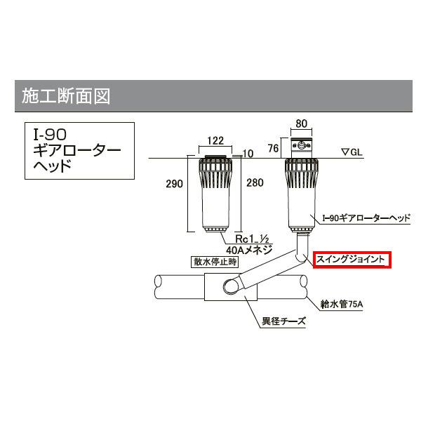 グローベン 1-90ギアローターヘッド オプション スイングジョイント40A C10SU040