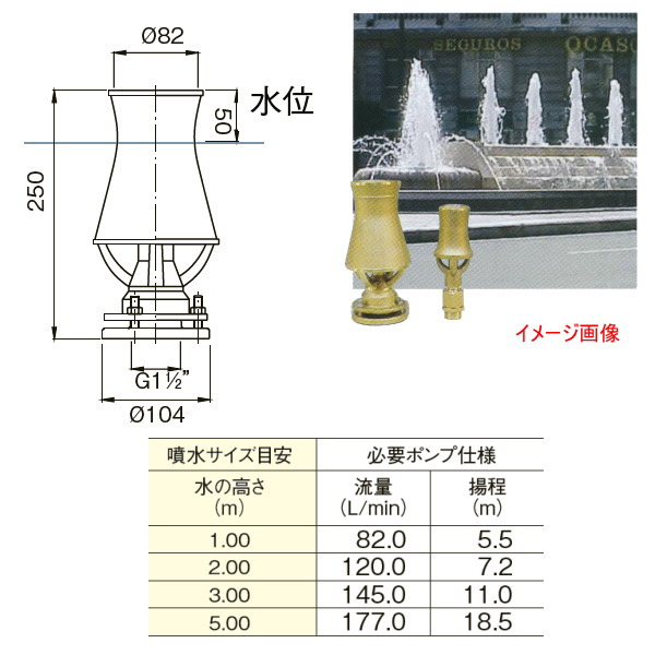 グローベン メタル噴水ノズル カスケード 接続口径/G1 1/2 メネジ C40SFA040