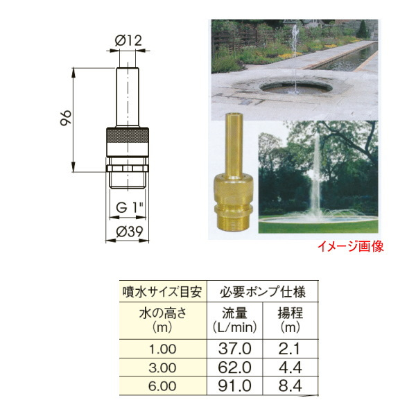 グローベン メタル噴水ノズル シングルジェット G1 オネジ C40SFB025