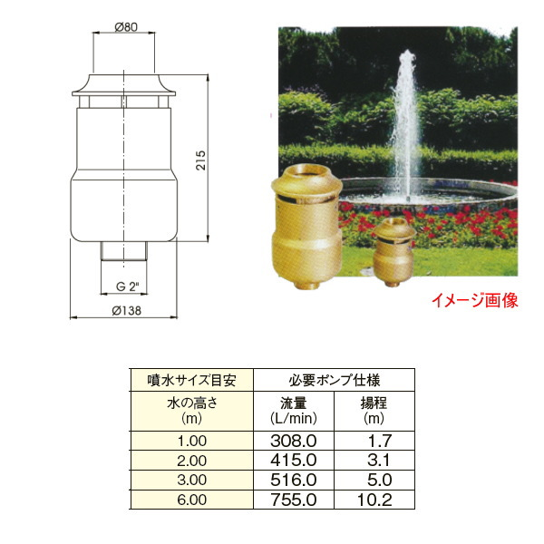 グローベン メタル噴水ノズル スノージェット 接続口径/G2 オネジ C40SFC050