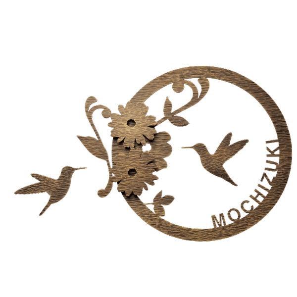 福彫 表札 デコールサイン ハミングバード レーザーカット文字 WDIR-3