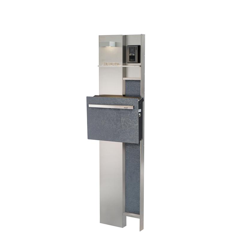 ステンレス機能門柱 キューブ ラミナムスタイル カルボネ GM1-E8C