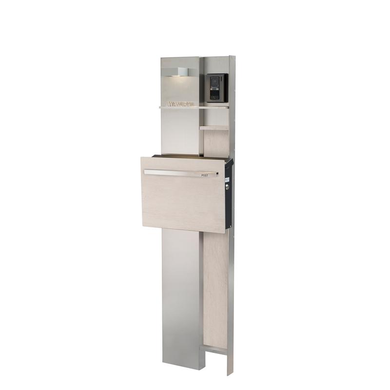 ステンレス機能門柱 キューブ ウッドスタイル タモホワイト GM1-E8TW
