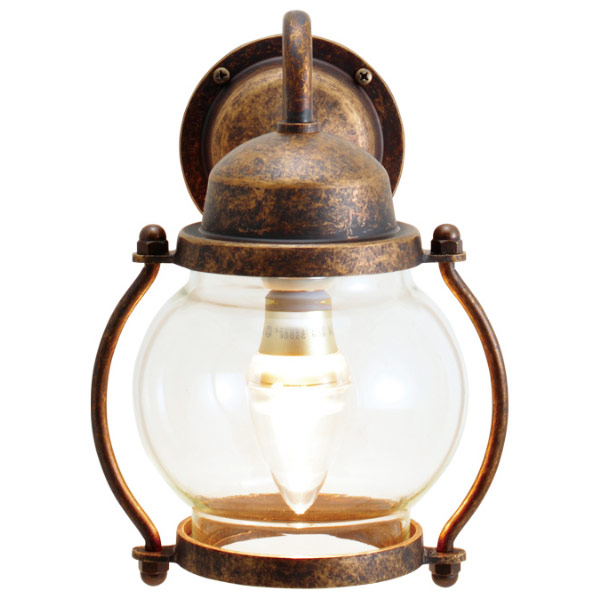 真鍮製ポーチライト BR1700 古色 クリアーガラス LED仕様 GI1-700471