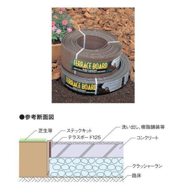 9月上旬頃予定 ユニソン コンクリートエッジ材 テラスボード125 4巻セット(1巻×12m)