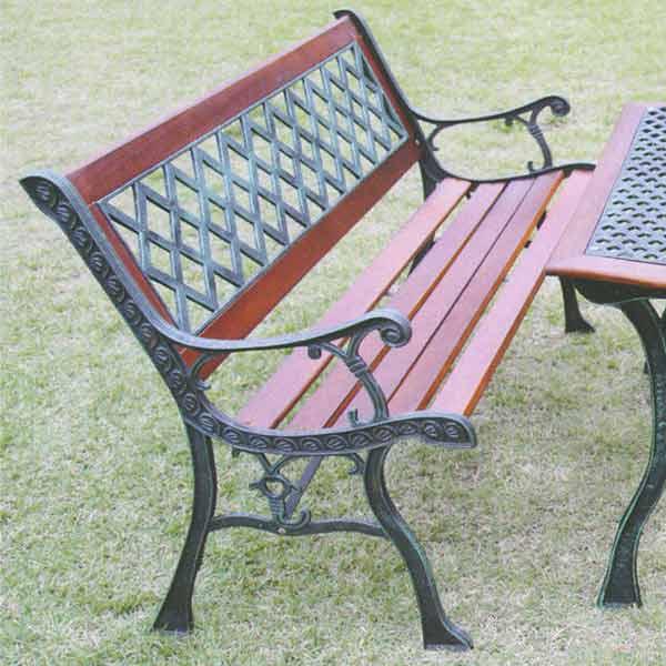ジャービス商事 CASTIRON FURNITURE CROSS BENCH 鋳鉄ファニチャー クロスベンチ 鋳鉄/ハードウッド材 ブラウン 13001 1台