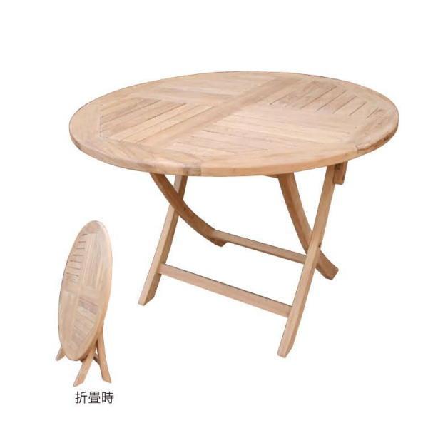 ジャービス商事 FOLDING ROUND TABLE 折り畳み丸テーブル チーク 無塗装 20861 1台