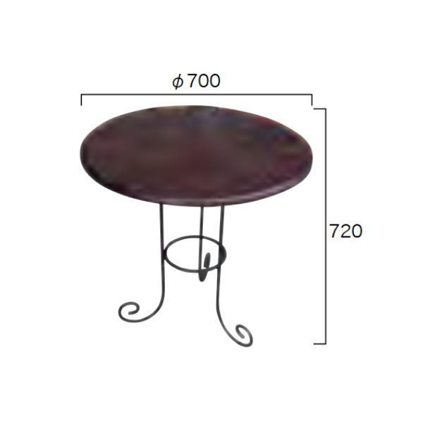 ジャービス商事 アイアンチークテーブル φ700×H720 34215