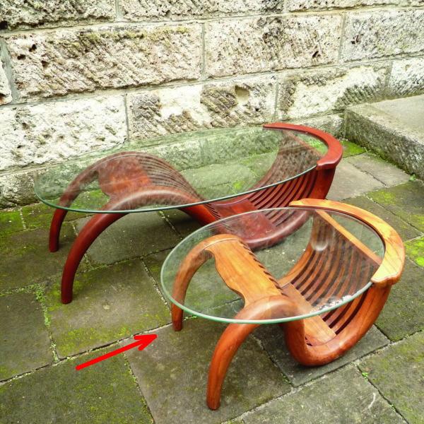 ジャービス商事 ミニチークガラステーブル(塗装) W760×H360×D500 36322
