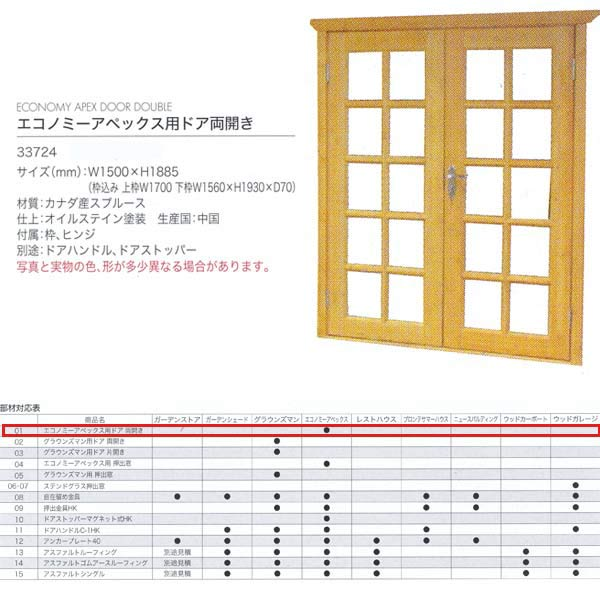 ジャービス商事 エコノミーアペックス用ドア両開き WOOD HOUSE PARTS 木製物置・ハウス専用部材 カナダ産スプルース 33724 1枚