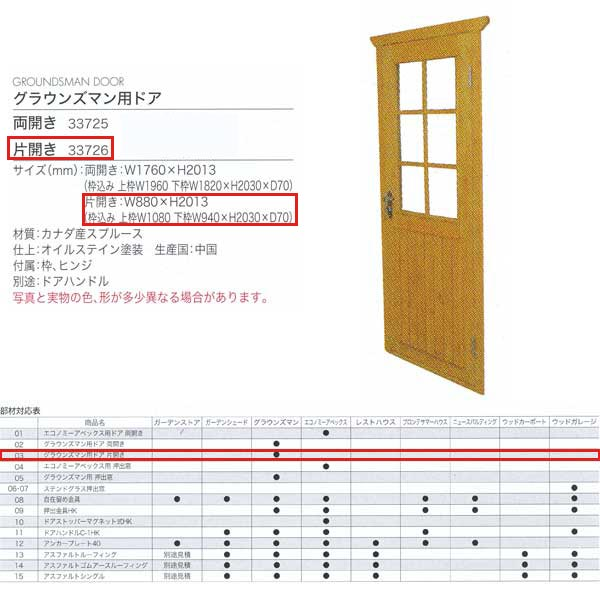 ジャービス商事 グラウンズマン用ドア 片開き WOOD HOUSE PARTS 木製物置・ハウス専用部材 カナダ産スプルース 33726 1枚