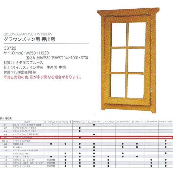 ジャービス商事 グラウンズマン用 押出窓 WOOD HOUSE PARTS 木製物置・ハウス専用部材 カナダ産スプルース 33728 1枚