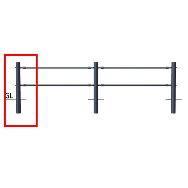 サンポール 横断防止柵 2段ビームタイプ 端部支柱左用(ジョイント付)SP-F360U-CR2 H920mm ダークグレー