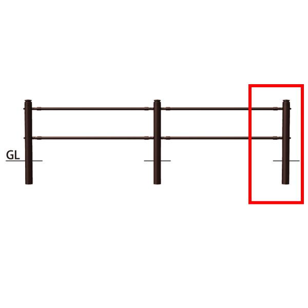 サンポール 横断防止柵 2段ビームタイプ 端部支柱右用(ジョイント付)SP-F370U-CR2 H920mm ブラウン