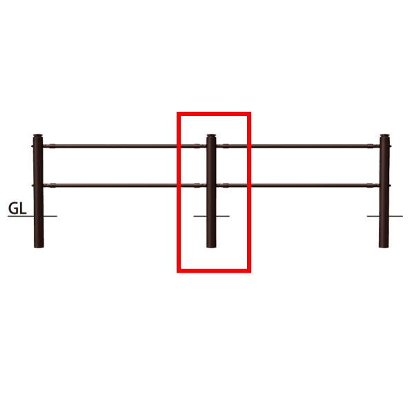 サンポール 横断防止柵 2段ビームタイプ 中間支柱(ジョイント付) SP-F370U-P2 H920mm ブラウン