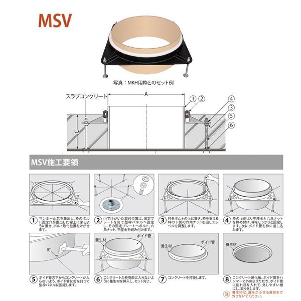カネソウ マンホール・ハンドホール鉄蓋 打込型マンホール鉄蓋用金具 MSV-1 650
