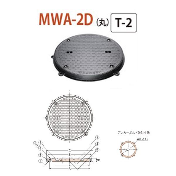 カネソウ マンホール・ハンドホール鉄蓋 断熱形 密閉形(防水・防臭形) ボトルロック式 丸枠 MWA-2D(丸) 500 T-2